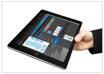 A+W Oprogramowanie iQuote widoczne jako aplikacja na tablecie.